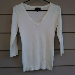 White Takeout Sweater V Neck Buttons Small